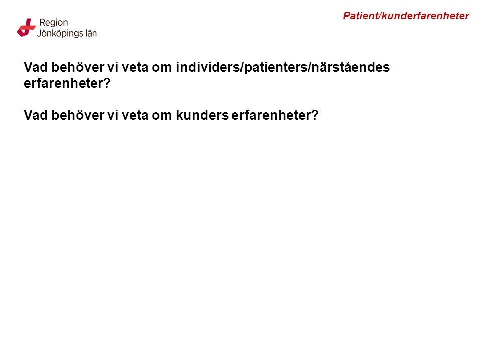 Vad behöver vi veta om individers/patienters/närståendes erfarenheter