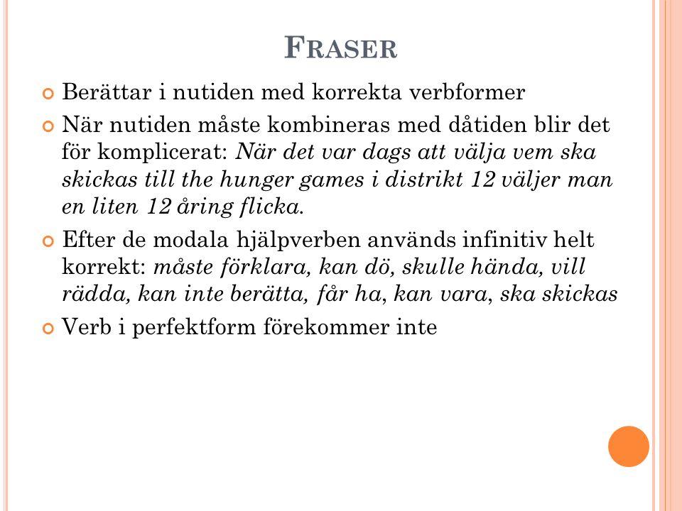 Fraser Berättar i nutiden med korrekta verbformer