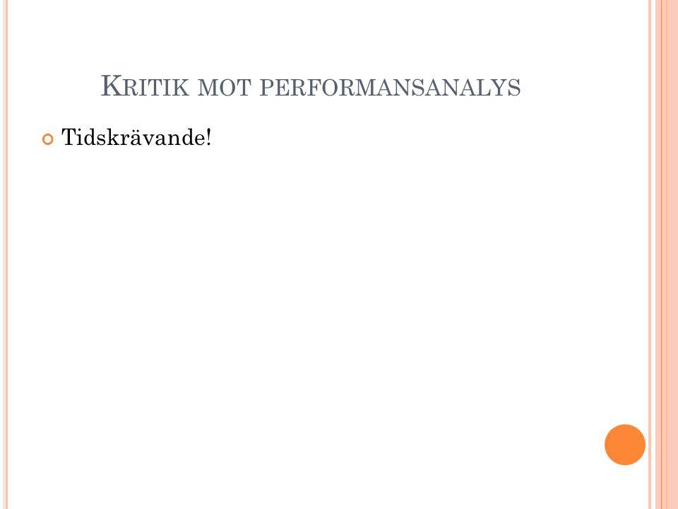 Kritik mot performansanalys