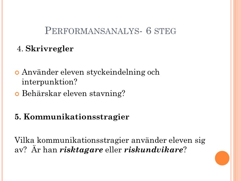 Performansanalys- 6 steg