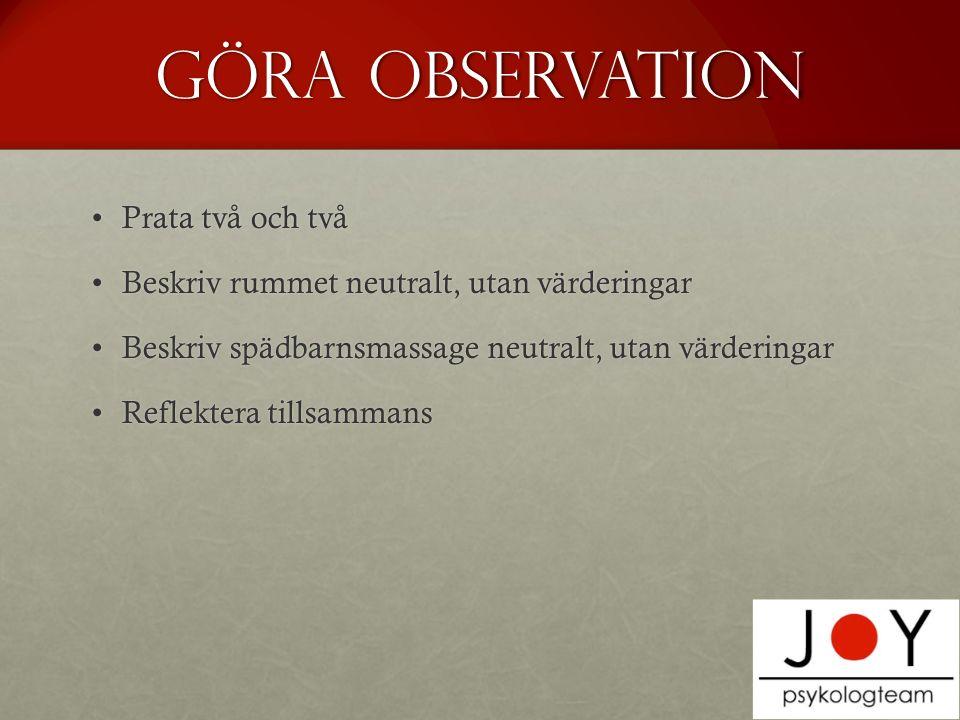 Göra observation Prata två och två