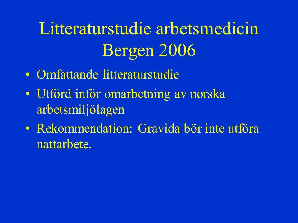 Litteraturstudie arbetsmedicin Bergen 2006