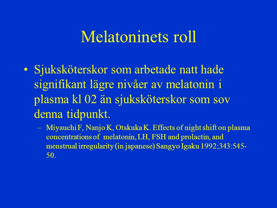 Melatoninets roll