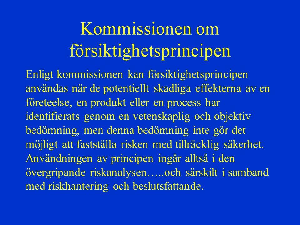 Kommissionen om försiktighetsprincipen