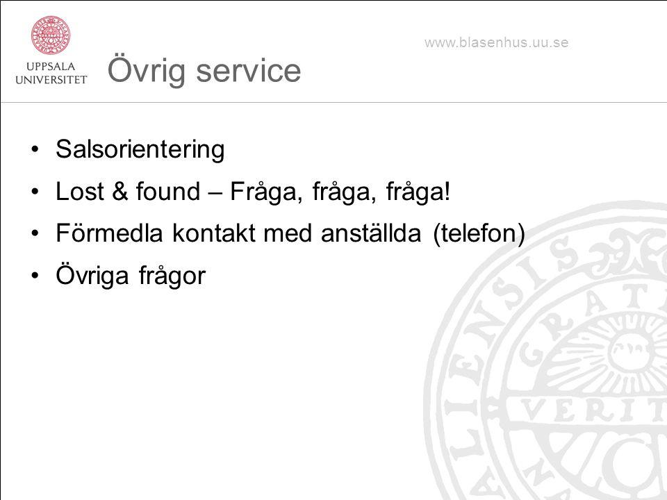 Övrig service Salsorientering Lost & found – Fråga, fråga, fråga!