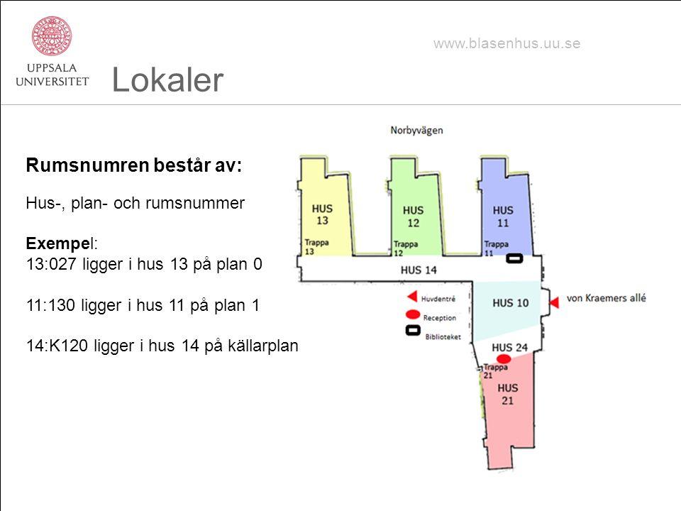 Lokaler Rumsnumren består av: Hus-, plan- och rumsnummer Exempel: