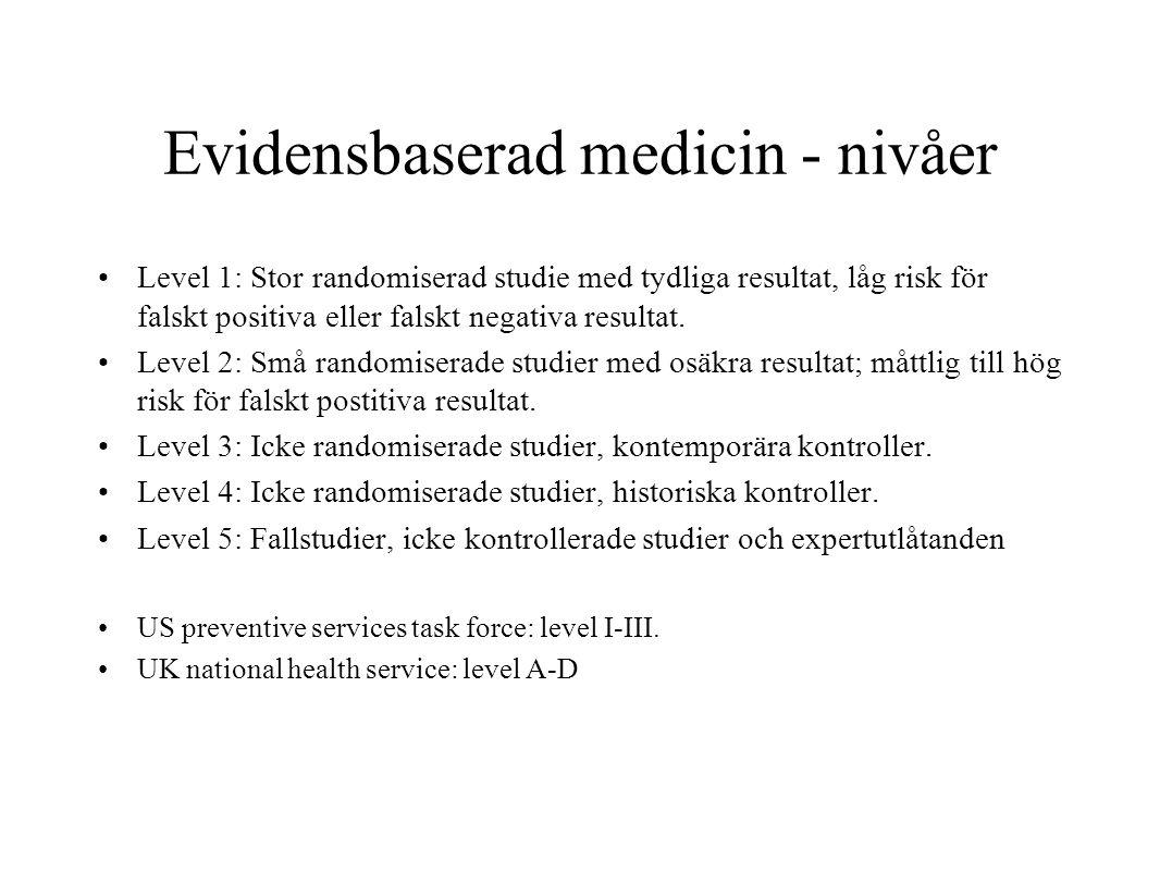 Evidensbaserad medicin - nivåer