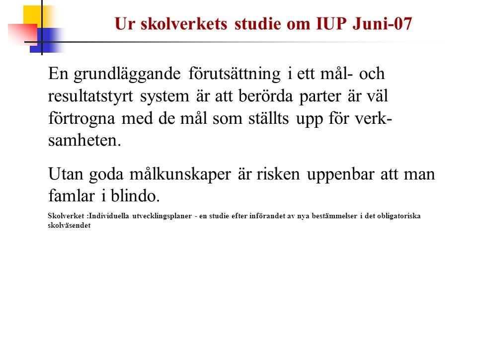 Ur skolverkets studie om IUP Juni-07