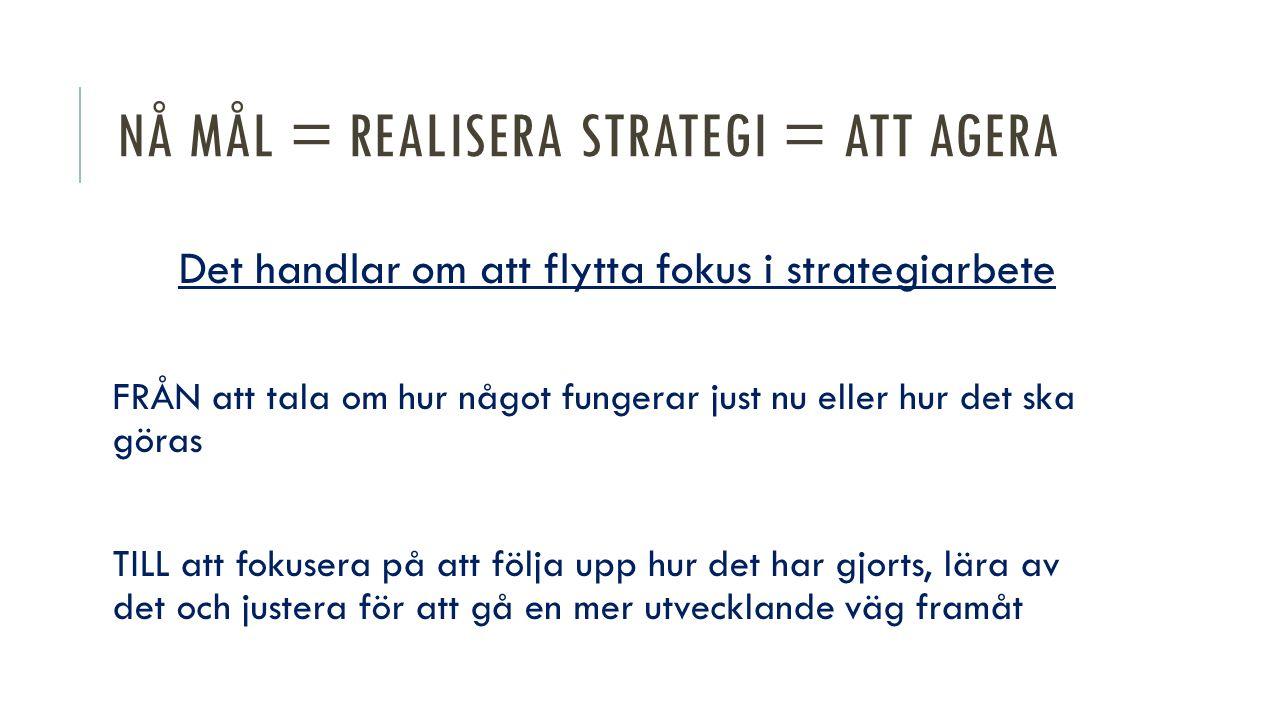 Nå mål = realisera strategi = att agera