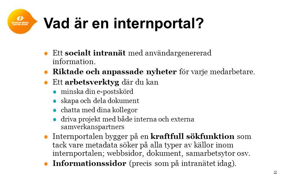 Vad är en internportal Ett socialt intranät med användargenererad information. Riktade och anpassade nyheter för varje medarbetare.