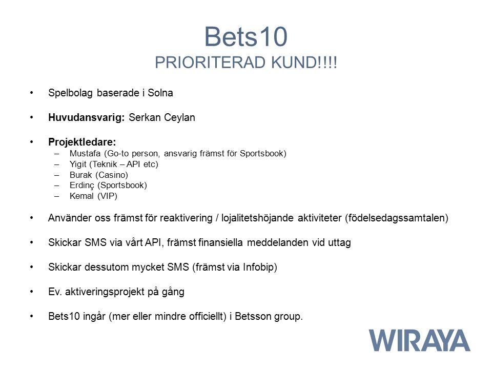 Bets10 PRIORITERAD KUND!!!! Spelbolag baserade i Solna