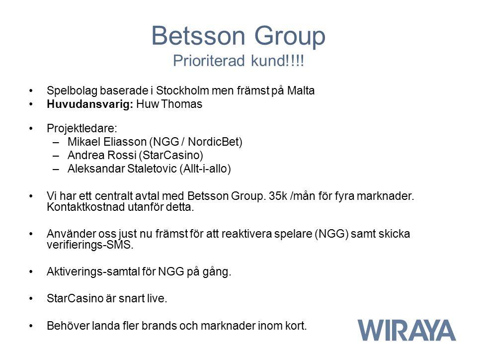 Betsson Group Prioriterad kund!!!!