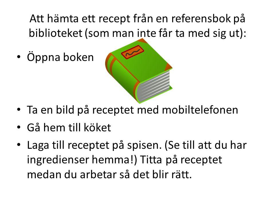 Att hämta ett recept från en referensbok på biblioteket (som man inte får ta med sig ut):