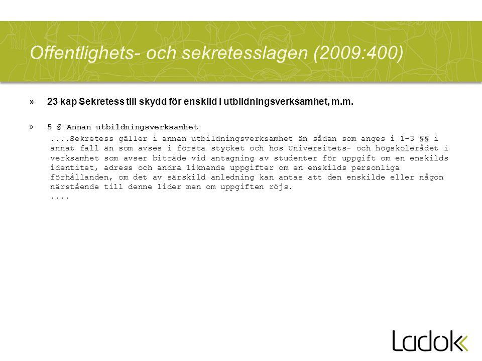 Offentlighets- och sekretesslagen (2009:400)