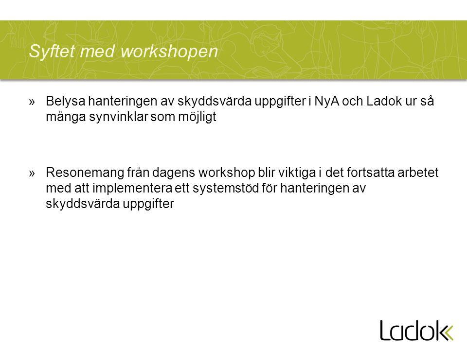 Syftet med workshopen Belysa hanteringen av skyddsvärda uppgifter i NyA och Ladok ur så många synvinklar som möjligt.