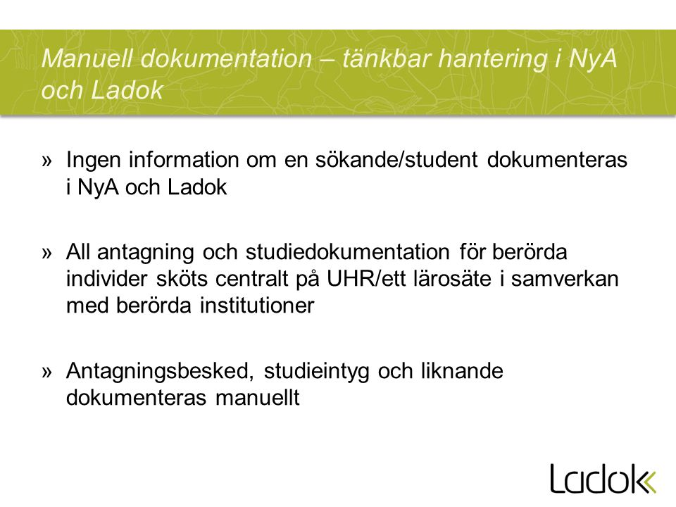 Manuell dokumentation – tänkbar hantering i NyA och Ladok