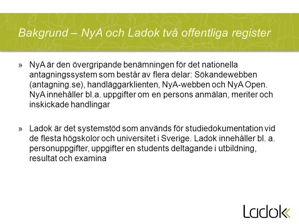 Bakgrund – NyA och Ladok två offentliga register