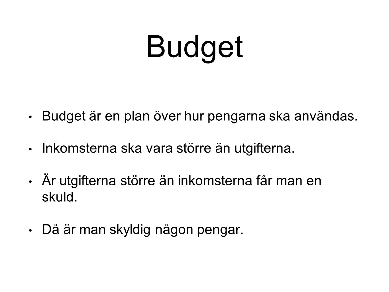 Budget Budget är en plan över hur pengarna ska användas.