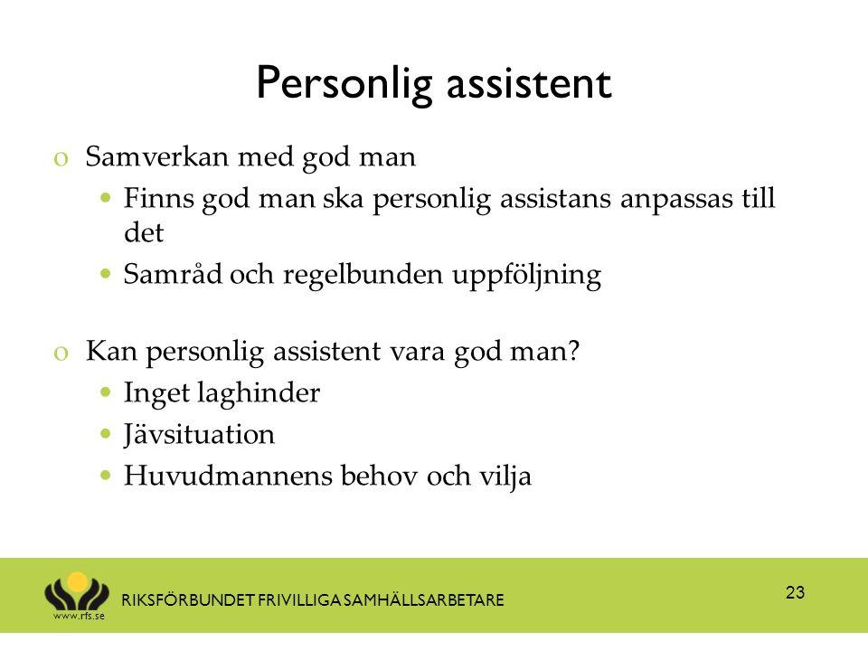 Personlig assistent Samverkan med god man