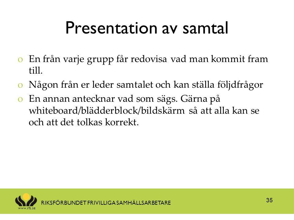 Presentation av samtal