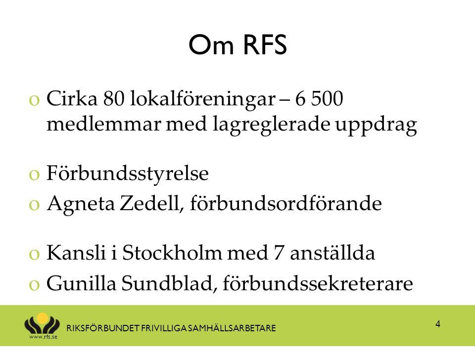 Om RFS Cirka 80 lokalföreningar – 6 500 medlemmar med lagreglerade uppdrag. Förbundsstyrelse. Agneta Zedell, förbundsordförande.