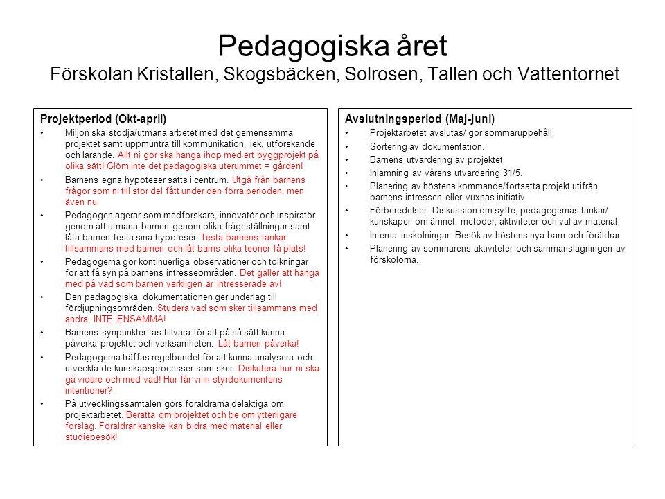 Pedagogiska året Förskolan Kristallen, Skogsbäcken, Solrosen, Tallen och Vattentornet