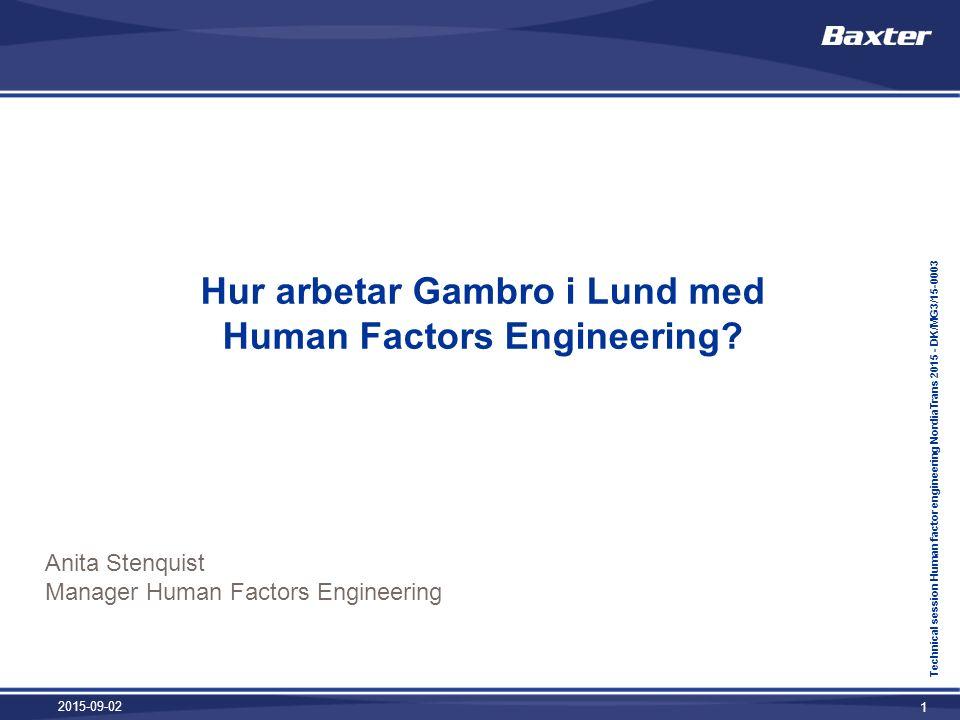 Hur arbetar Gambro i Lund med Human Factors Engineering