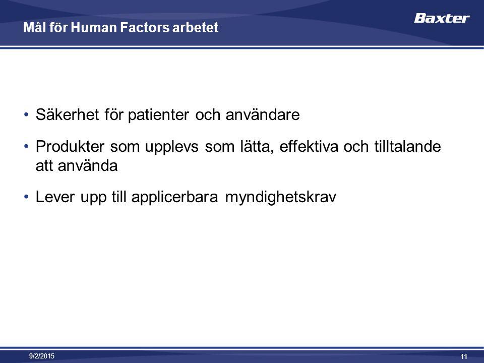Mål för Human Factors arbetet