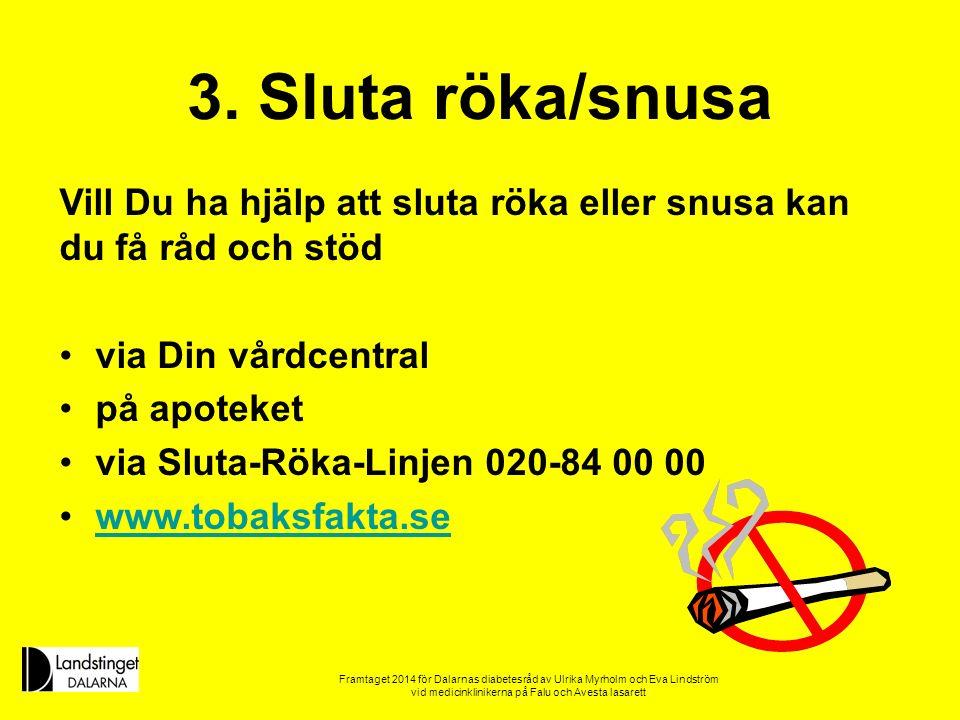 3. Sluta röka/snusa Vill Du ha hjälp att sluta röka eller snusa kan du få råd och stöd. via Din vårdcentral.