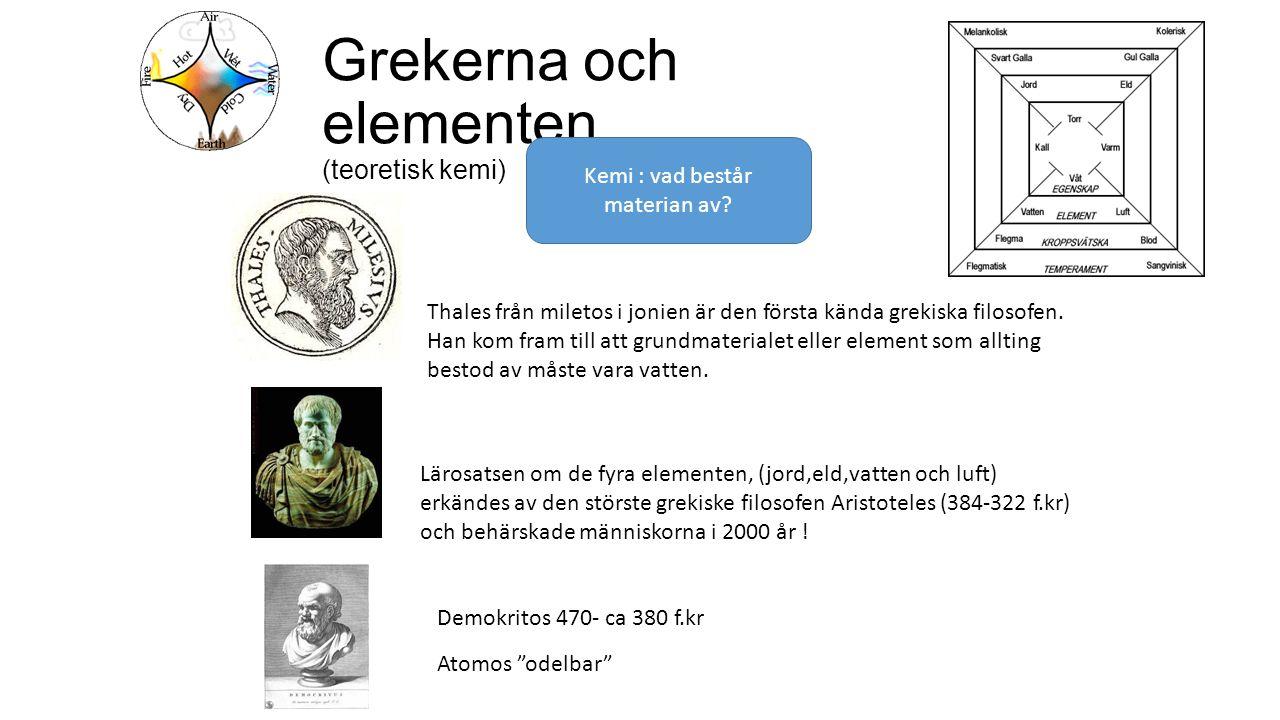 Grekerna och elementen (teoretisk kemi)