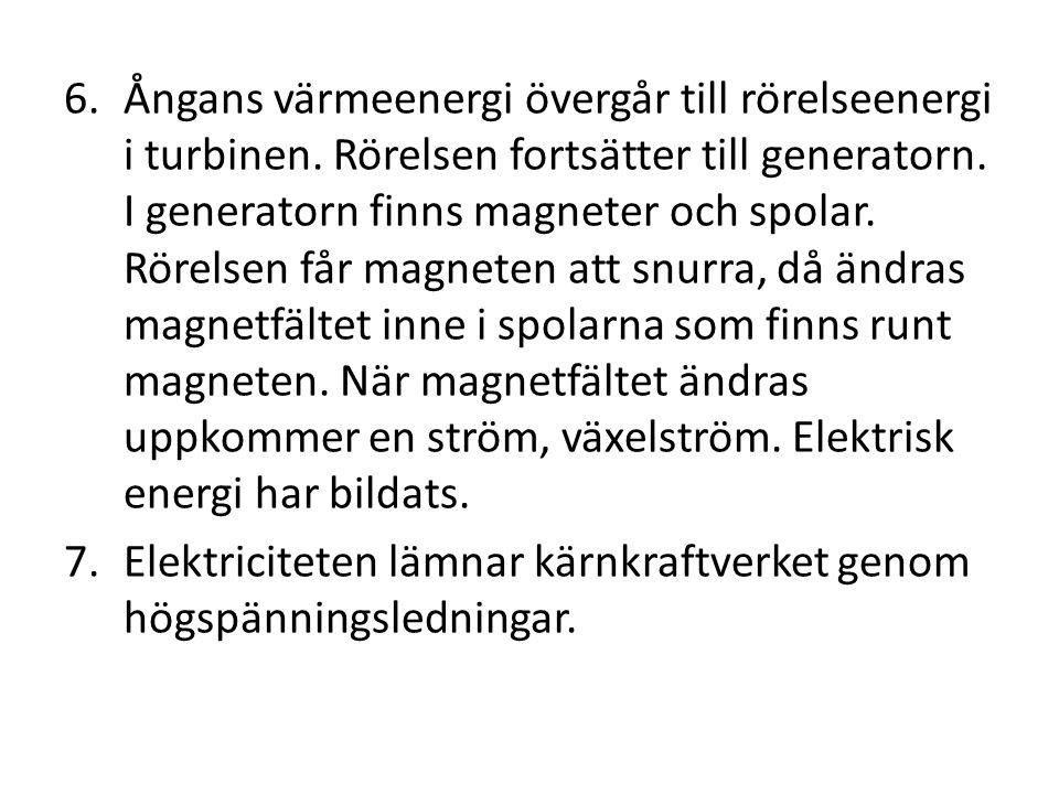 Ångans värmeenergi övergår till rörelseenergi i turbinen