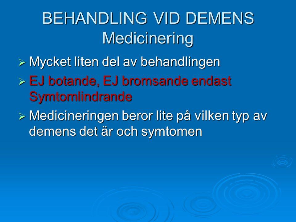 BEHANDLING VID DEMENS Medicinering