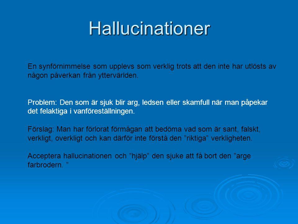 Hallucinationer En synförnimmelse som upplevs som verklig trots att den inte har utlösts av någon påverkan från yttervärlden.