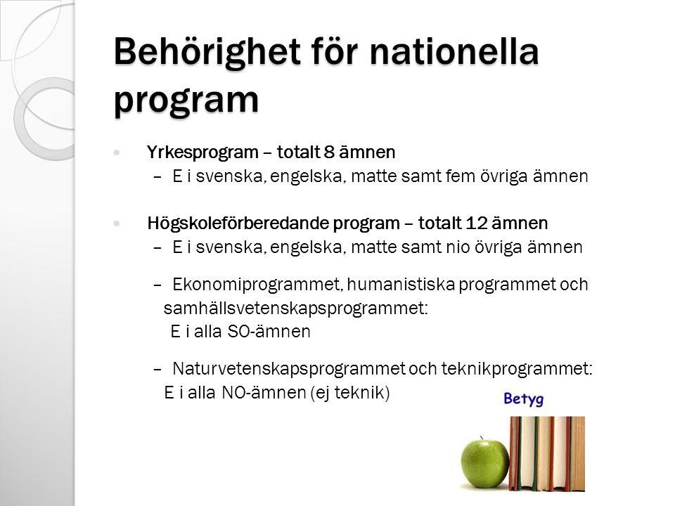 Behörighet för nationella program