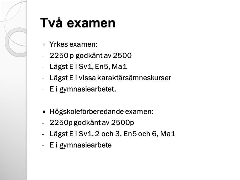 Två examen Yrkes examen: 2250 p godkänt av 2500