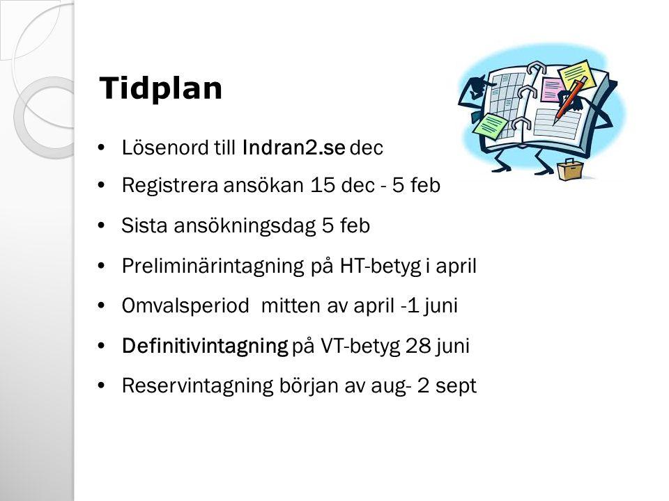 Tidplan Lösenord till Indran2.se dec Registrera ansökan 15 dec - 5 feb