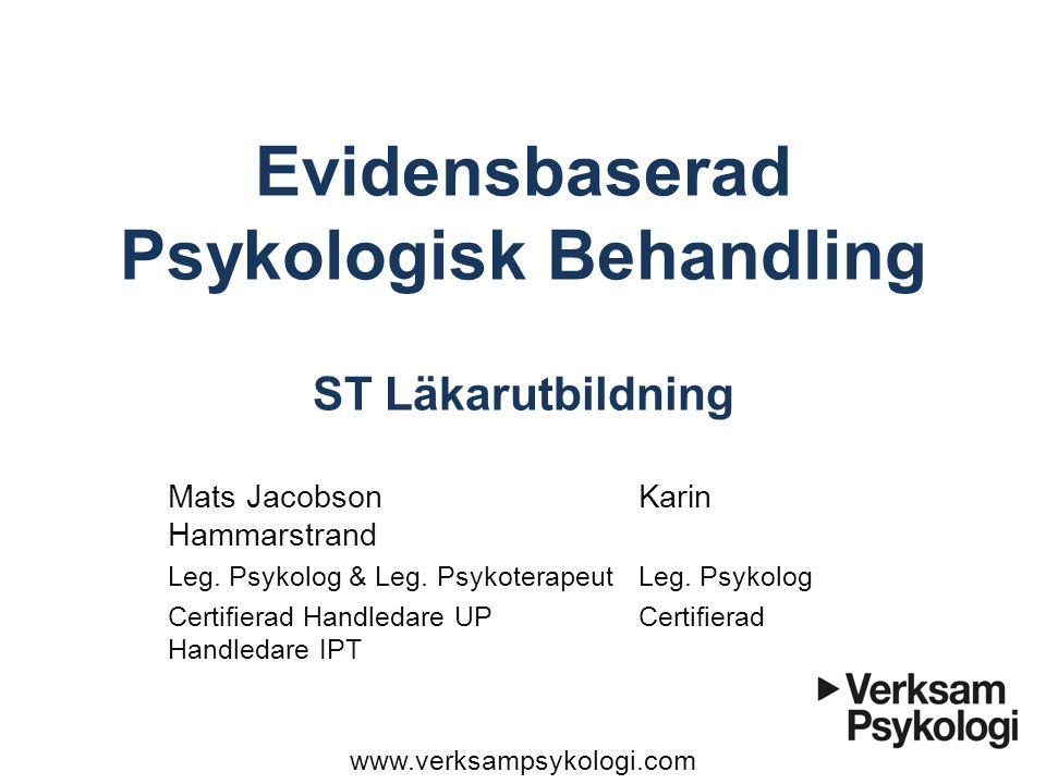 Evidensbaserad Psykologisk Behandling ST Läkarutbildning