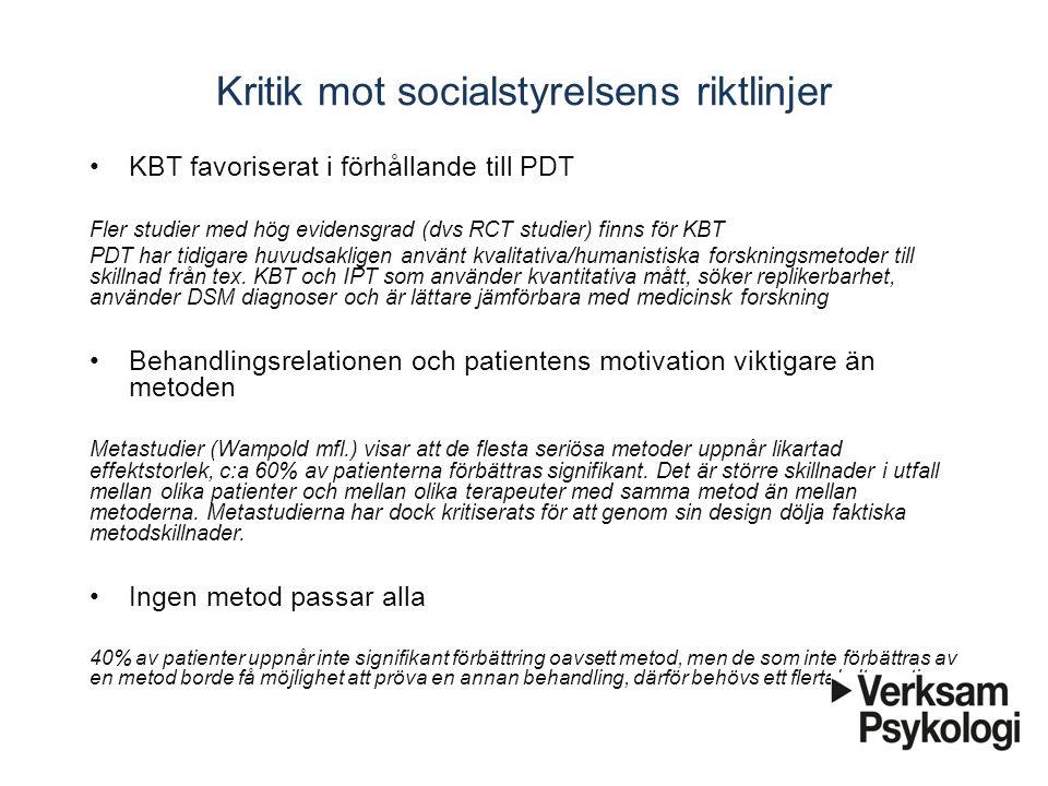 Kritik mot socialstyrelsens riktlinjer