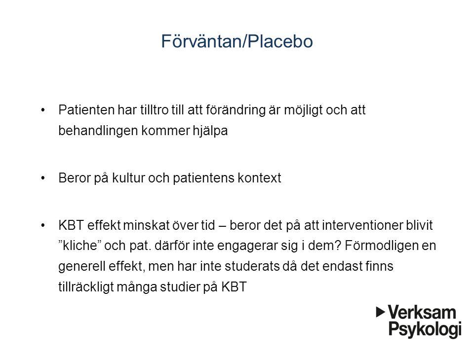 Förväntan/Placebo Patienten har tilltro till att förändring är möjligt och att behandlingen kommer hjälpa.