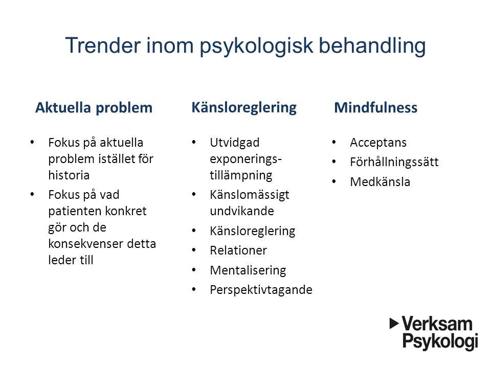 Trender inom psykologisk behandling