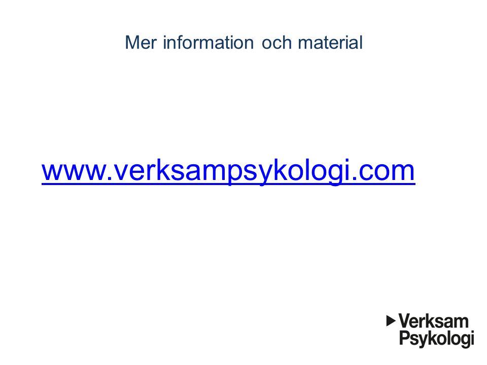 Mer information och material