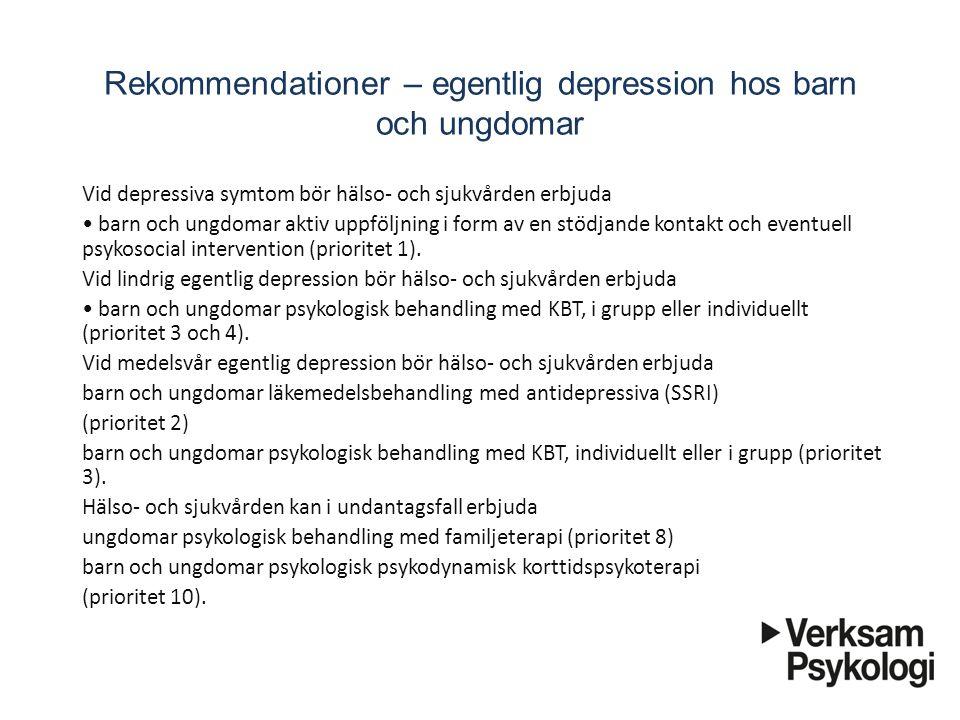 Rekommendationer – egentlig depression hos barn och ungdomar