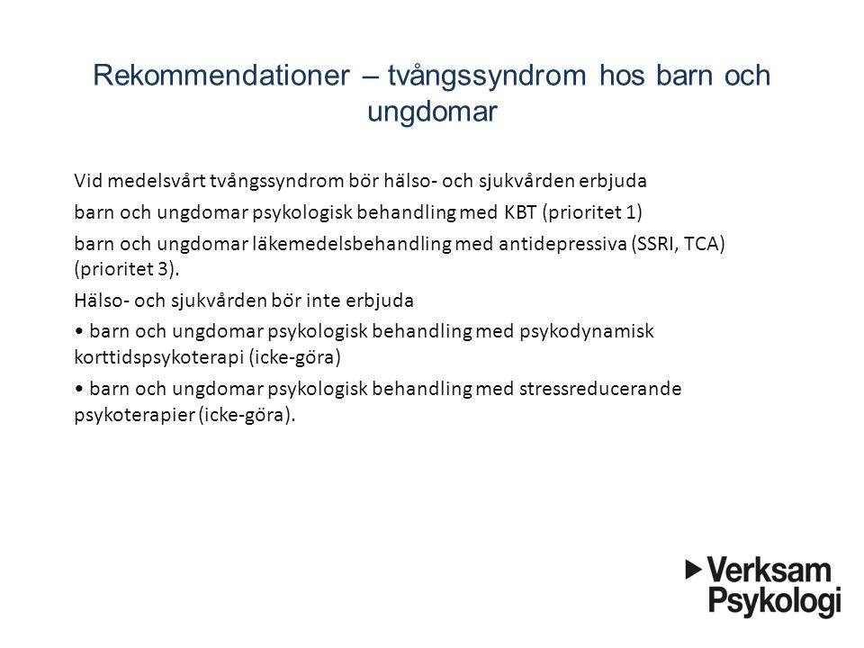 Rekommendationer – tvångssyndrom hos barn och ungdomar