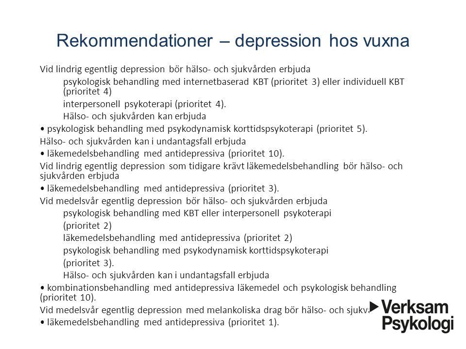 Rekommendationer – depression hos vuxna
