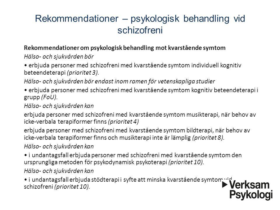 Rekommendationer – psykologisk behandling vid schizofreni
