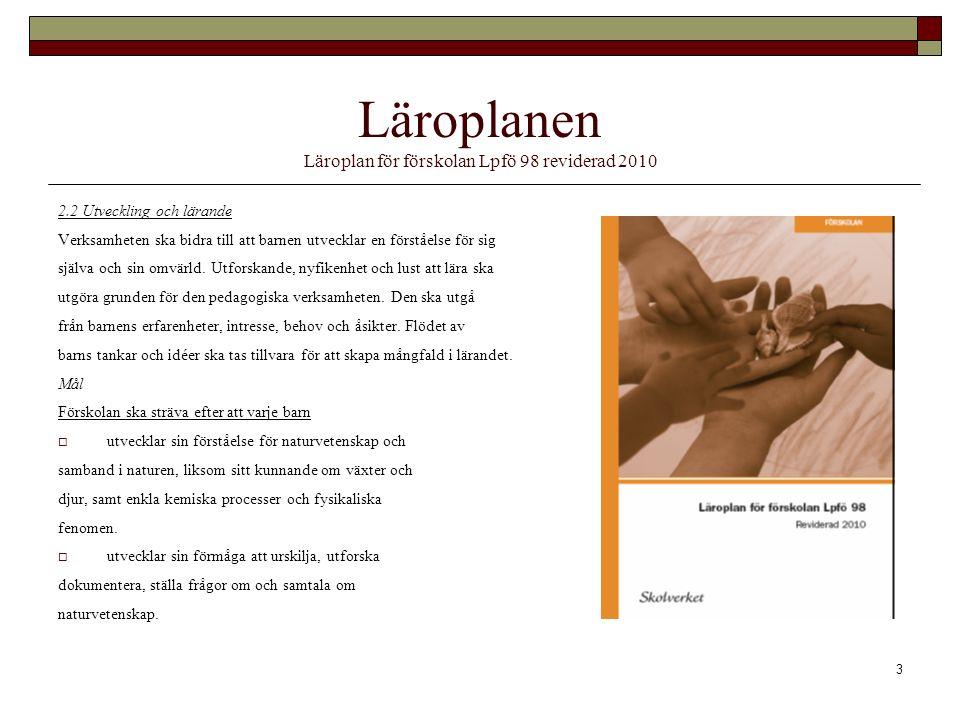 Läroplanen Läroplan för förskolan Lpfö 98 reviderad 2010