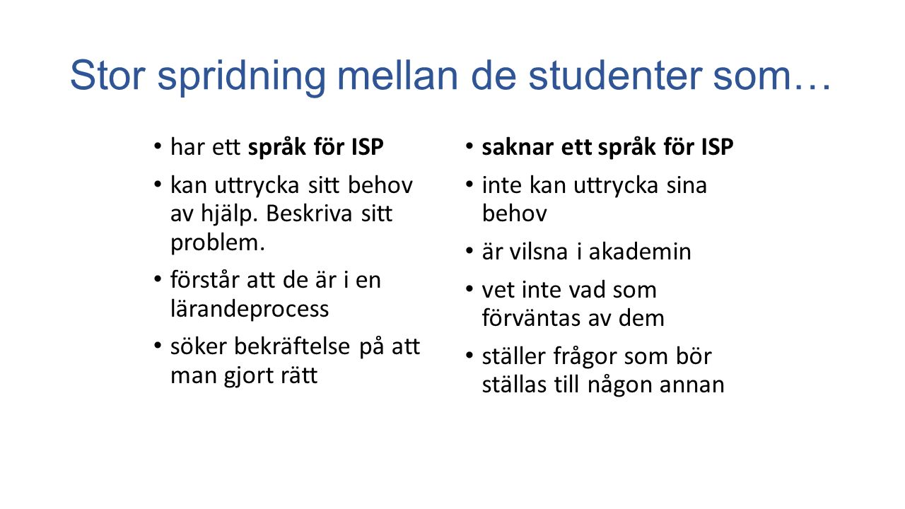 Stor spridning mellan de studenter som…
