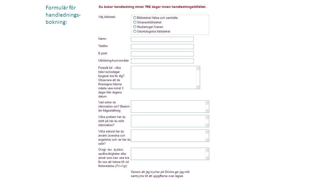 Formulär för handlednings-bokning: