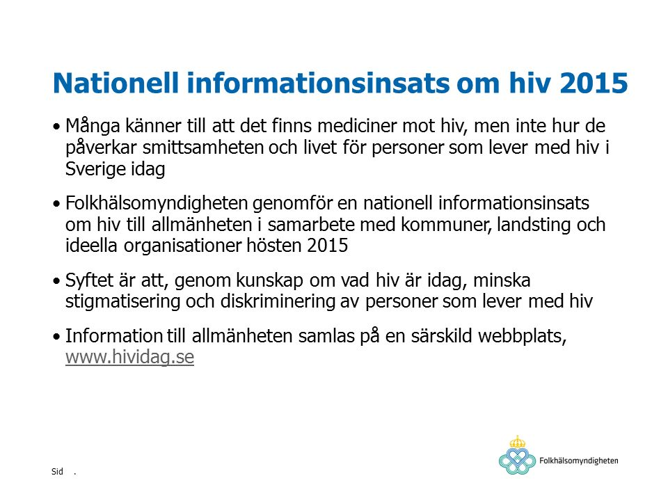 Nationell informationsinsats om hiv 2015