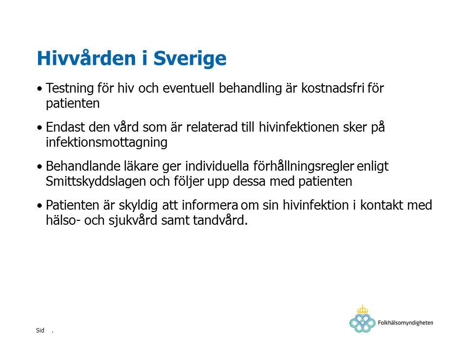 Hivvården i Sverige Testning för hiv och eventuell behandling är kostnadsfri för patienten.
